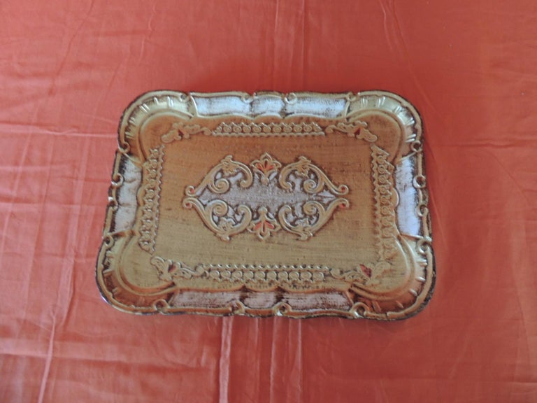 Vintage Florentine gold hand painted mail tray. Stamped: Made in Florence label in the back. Size: 8.5