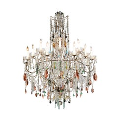 Vintage Florentine Midcentury 16-Light Chandelier Draped with Colorful Crystals