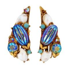 Vintage Florenza Aurora Borealis Bead & Rhinestone Crawler Earrings, circa 1970