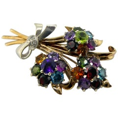 Vintage Flower Bouquet Brooch in Yellow and White Gold, Semi-Precious Gemstones