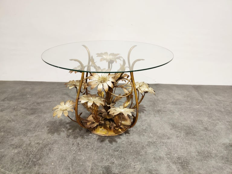 Hollywood Regency Vintage Flower Coffee Table, Italy, 1960s For Sale