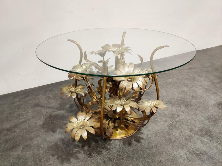 Metal Vintage Flower Coffee Table, Italy, 1960s For Sale