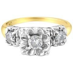 Vintage Flower Design 0.37 Carat Diamond Gold Engagement Ring
