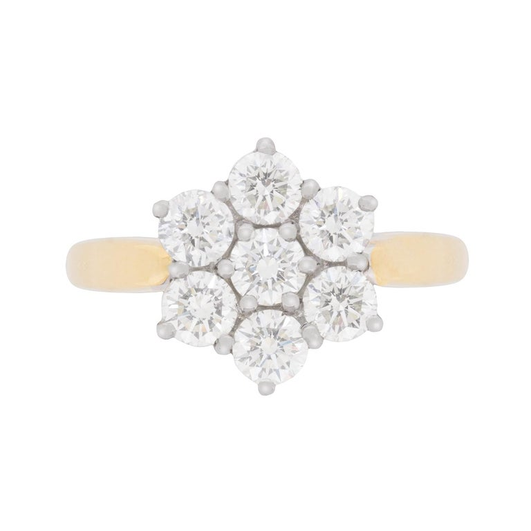 a67029181a7f Vintage Flower Diamond Cluster Ring
