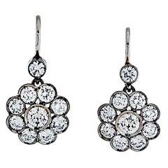 Vintage Flower Diamond Drop Dangling Earrings 3.00 Carat