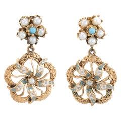 Vintage Flower Drop Earrings Turquoise Pearl Enamel 14 Karat Gold Fine Jewelry