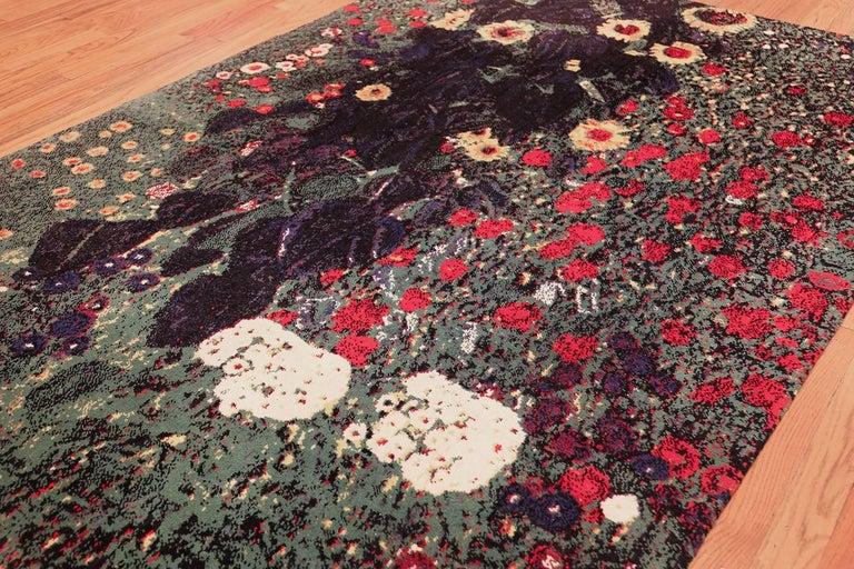 Vintage Flower Garden Design Scandinavian Rug After Gustav Klimt. Size: 6' x 9'  For Sale 2