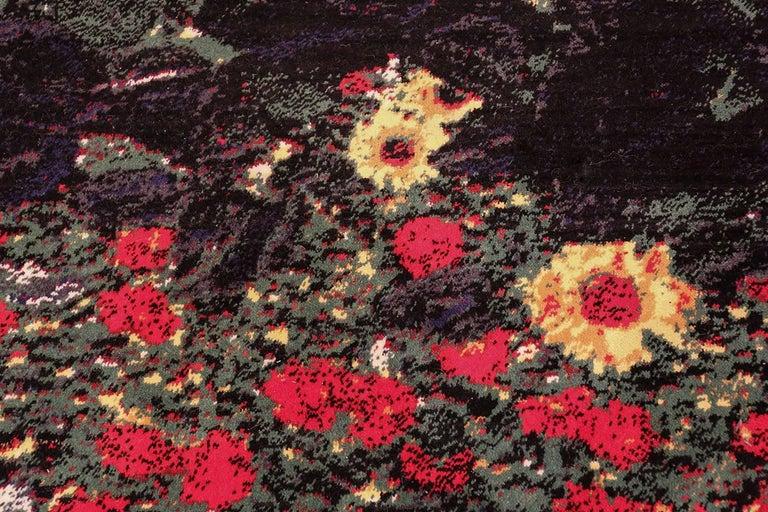 Machine-Made Vintage Flower Garden Design Scandinavian Rug After Gustav Klimt. Size: 6' x 9'  For Sale