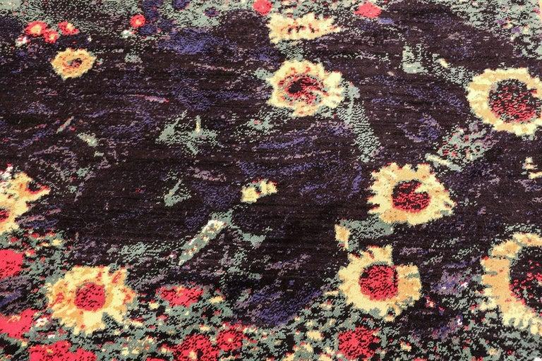 Vintage Flower Garden Design Scandinavian Rug After Gustav Klimt. Size: 6' x 9'  In Excellent Condition For Sale In New York, NY