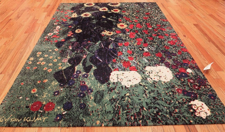 20th Century Vintage Flower Garden Design Scandinavian Rug After Gustav Klimt. Size: 6' x 9'  For Sale