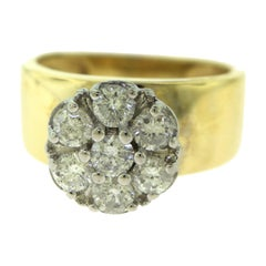 Vintage Flower Halo Round Diamond in Yellow Gold Engagement Ring