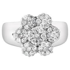 Vintage 1.50 Carat Diamonds 14K White Gold Ring Flower Motif