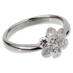 Vintage Flower Platinum Diamond Ring