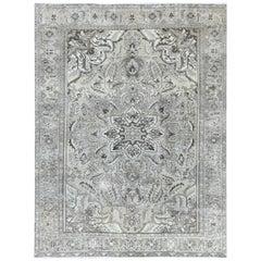Vintage Flower Washed Out Ivory Abrash Persian Heriz Oriental Rug