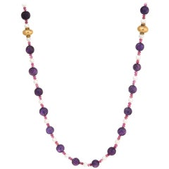 Vintage Fluted Amethyst Ruby Pearl Bead Necklace 14 Karat Gold Long Jewelry