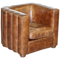 Vintage Fluted Back Art Deco Style Aged Heritage Brown Leather Club Armchair