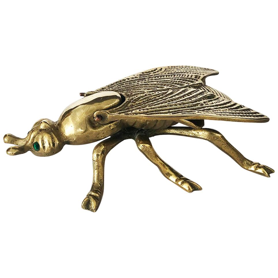 Vintage Fly Ashtray in Brass, 1950s