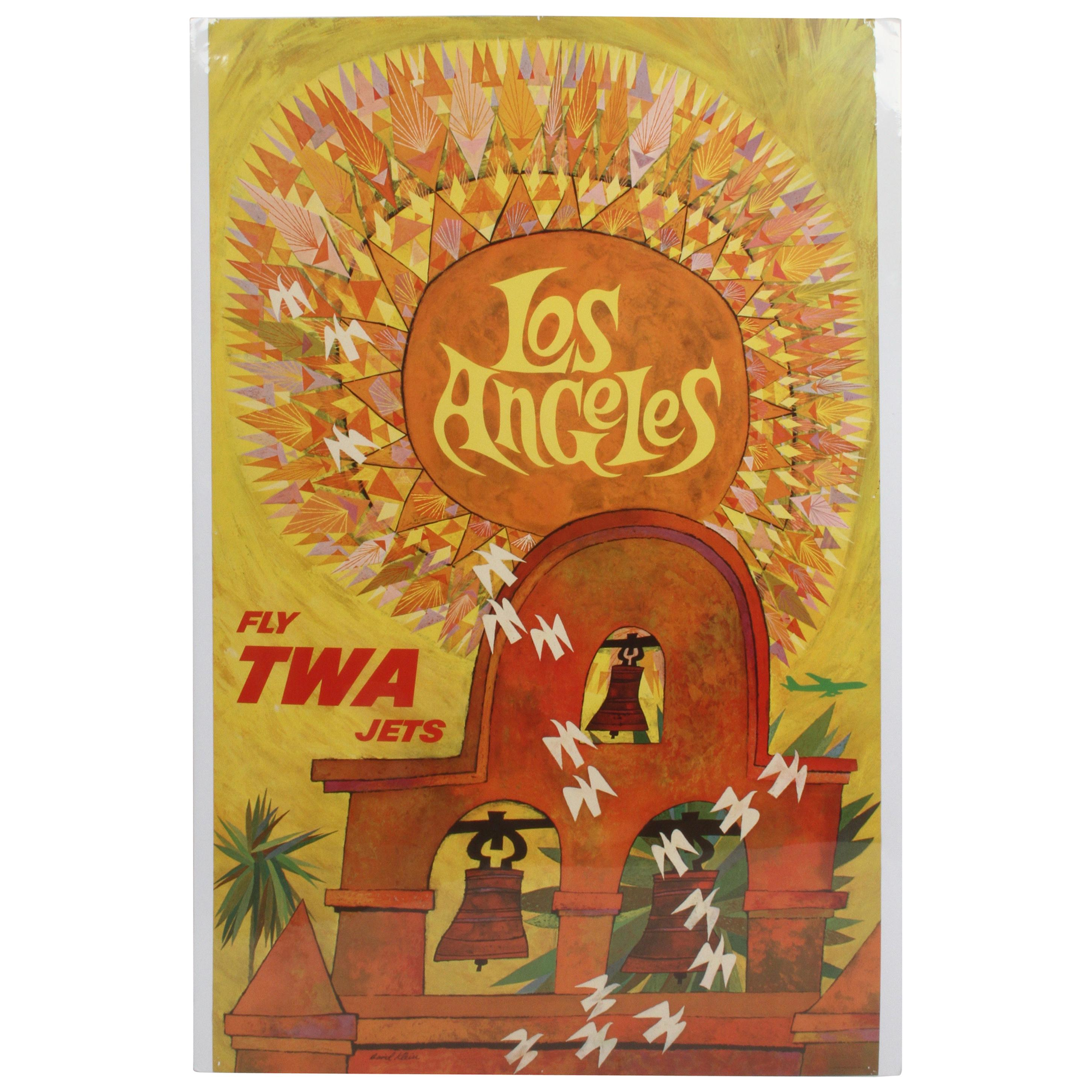 Vintage Fly TWA Airlines to Los Angles Poster by Artist David Klein, circa 1960s