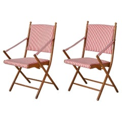 Vintage Foldable Chairs in Faux Bamboo and Striped Textile, France 1950's