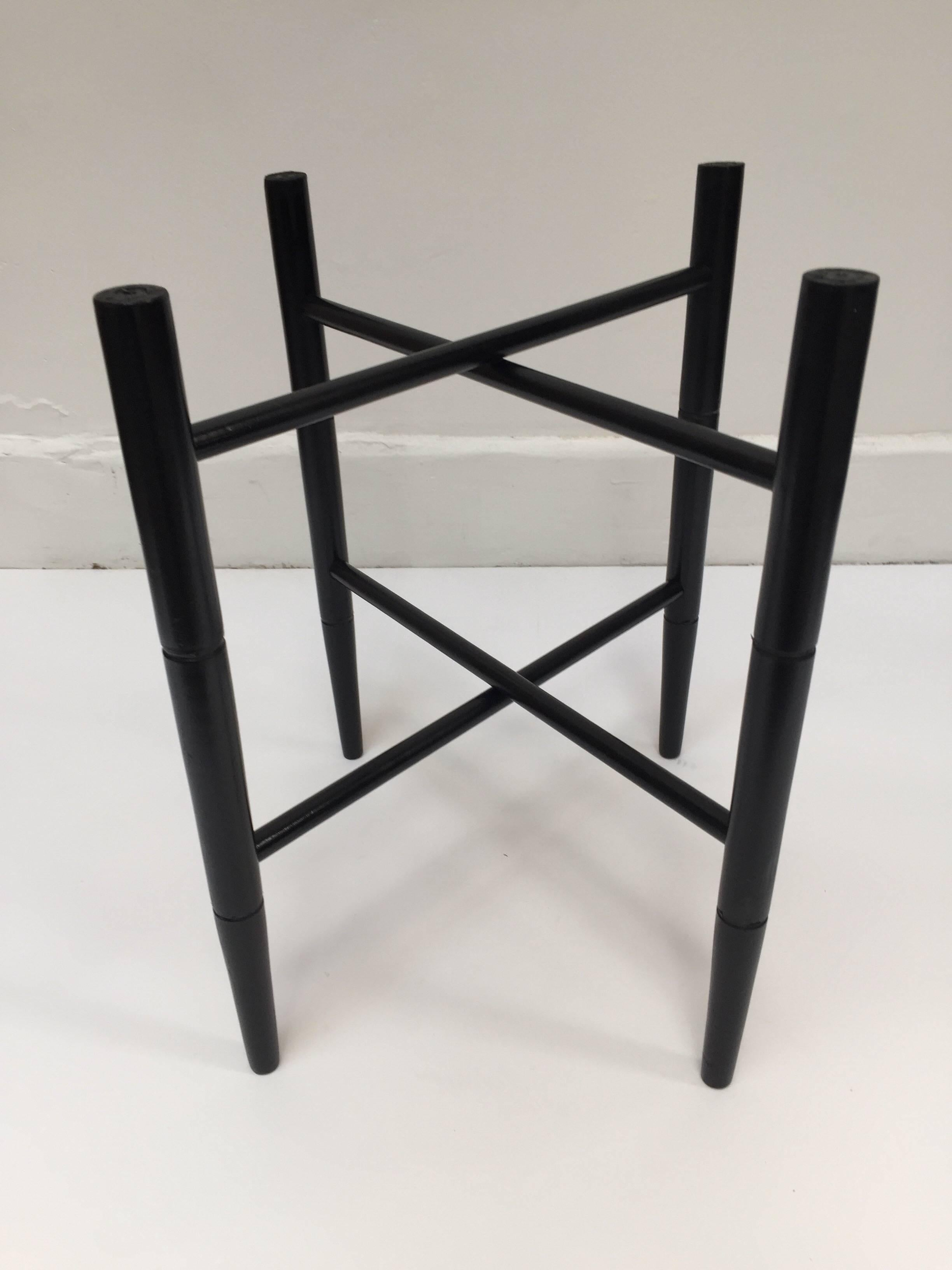 Vintage Folding Black Wooden Tray Table Stand
