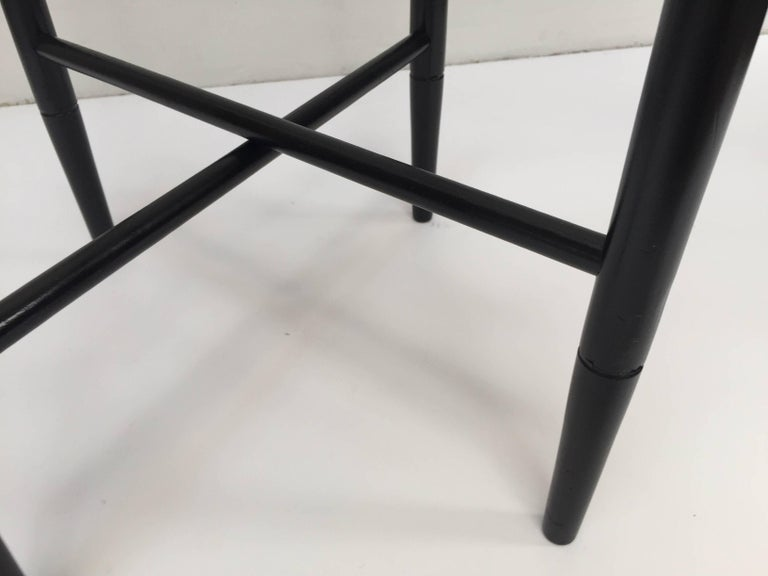Moroccan Vintage Folding Black Wooden Tray Table Stand For Sale
