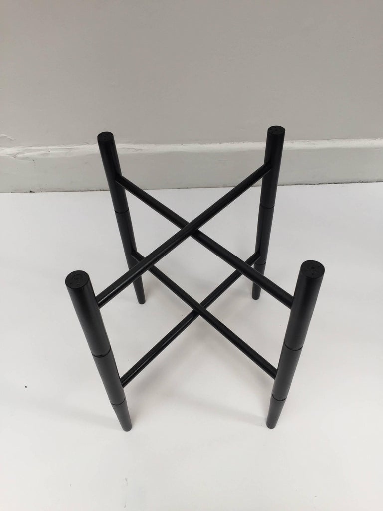 Hand-Carved Vintage Folding Black Wooden Tray Table Stand For Sale