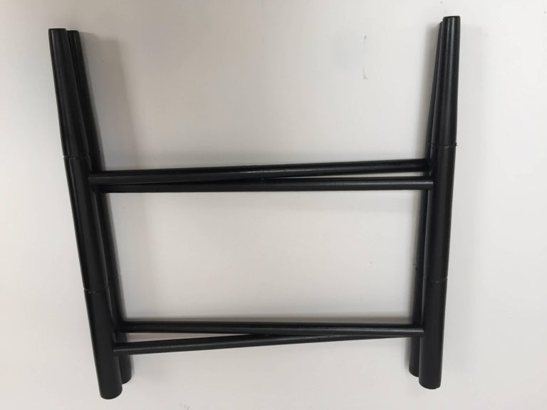 Vintage Folding Black Wooden Tray Table Stand In Good Condition For Sale In North Hollywood, CA