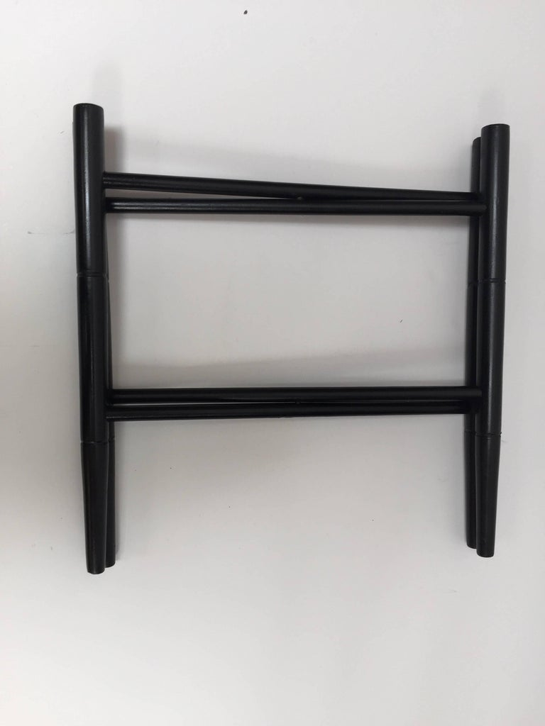 20th Century Vintage Folding Black Wooden Tray Table Stand For Sale