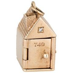 Vintage Folding House Charm Picture Pendant 14 Karat Gold Diamond Locket Charm