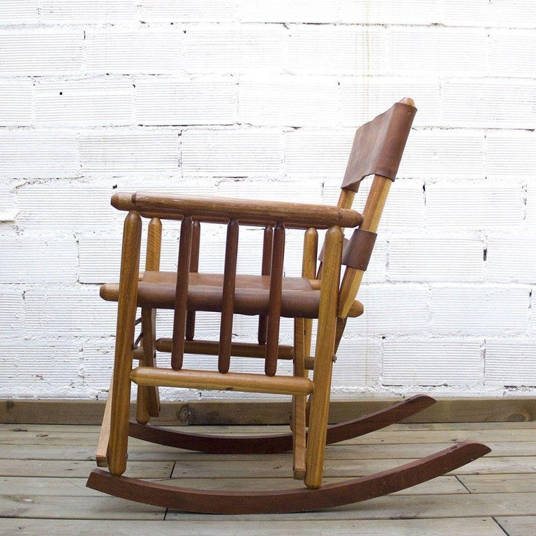 American Craftsman Vintage Folding Leather and Wood Rocking Chair For Sale