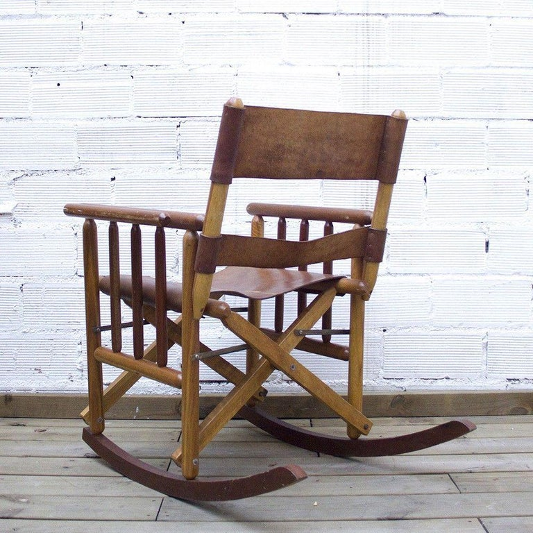 Late 20th Century Vintage Folding Leather and Wood Rocking Chair For Sale