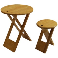 Vintage Folding Wooden Stool and Table in the Style of Suzy Stool by Adrian Reed