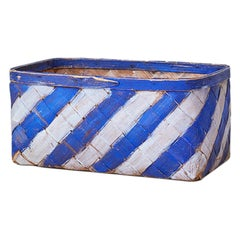 Vintage Folk Art Basket with Blue and White Stripes, Sweden, Mid 19th-Century