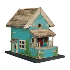 Vintage Folk Art Birdhouse, American, Scratch Built, Midwestern, Garden, 1960