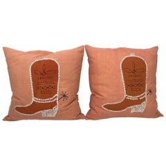 Vintage Folk Art Burnt Orange Cowboy Boot Pillows