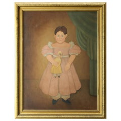 Vintage Folk Art Canvas Chromolithograph Print of Young Girl with Doll