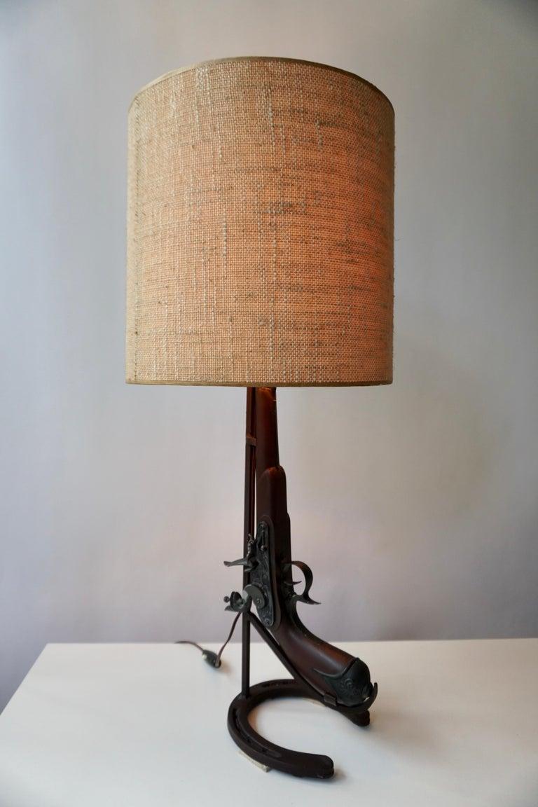 Mid-Century Modern Vintage Folk Art Gun Lamp of Wrought Iron and Wood For Sale