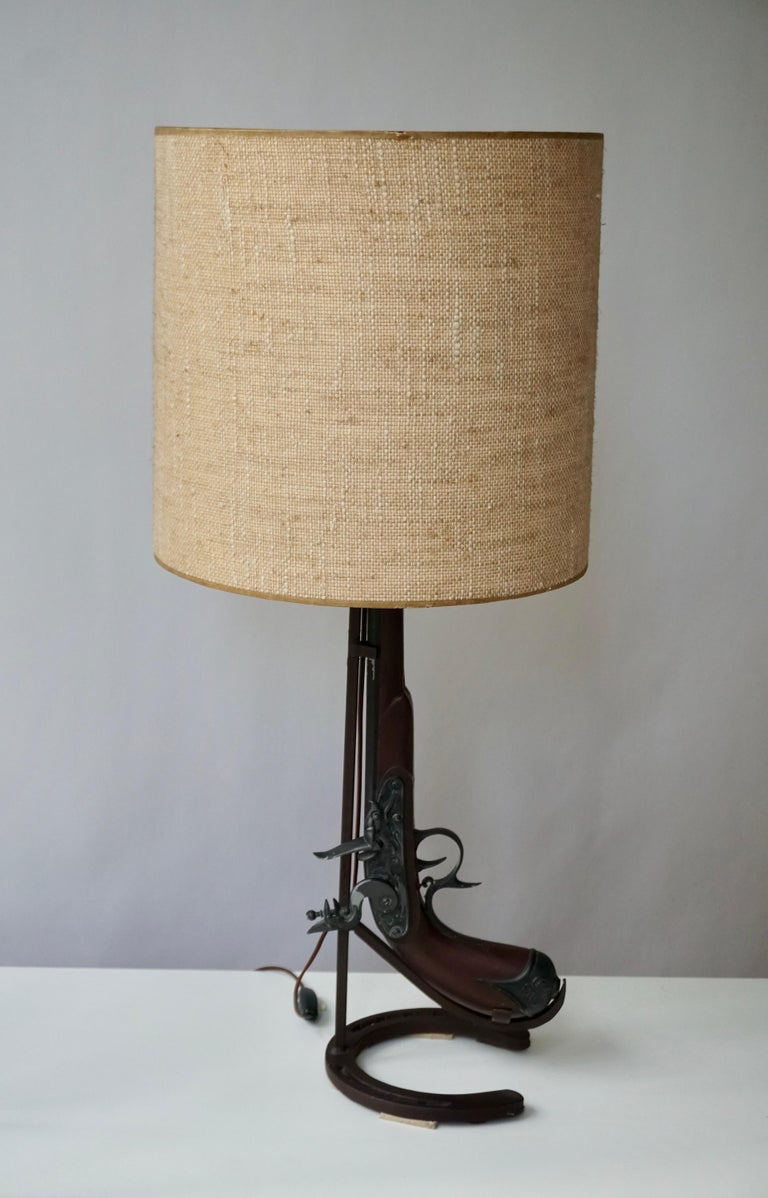 20th Century Vintage Folk Art Gun Lamp of Wrought Iron and Wood For Sale