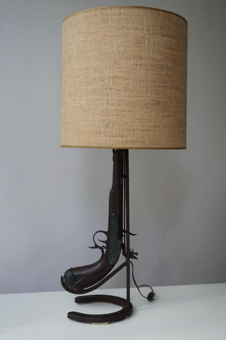 Vintage Folk Art Gun Lamp of Wrought Iron and Wood For Sale 1