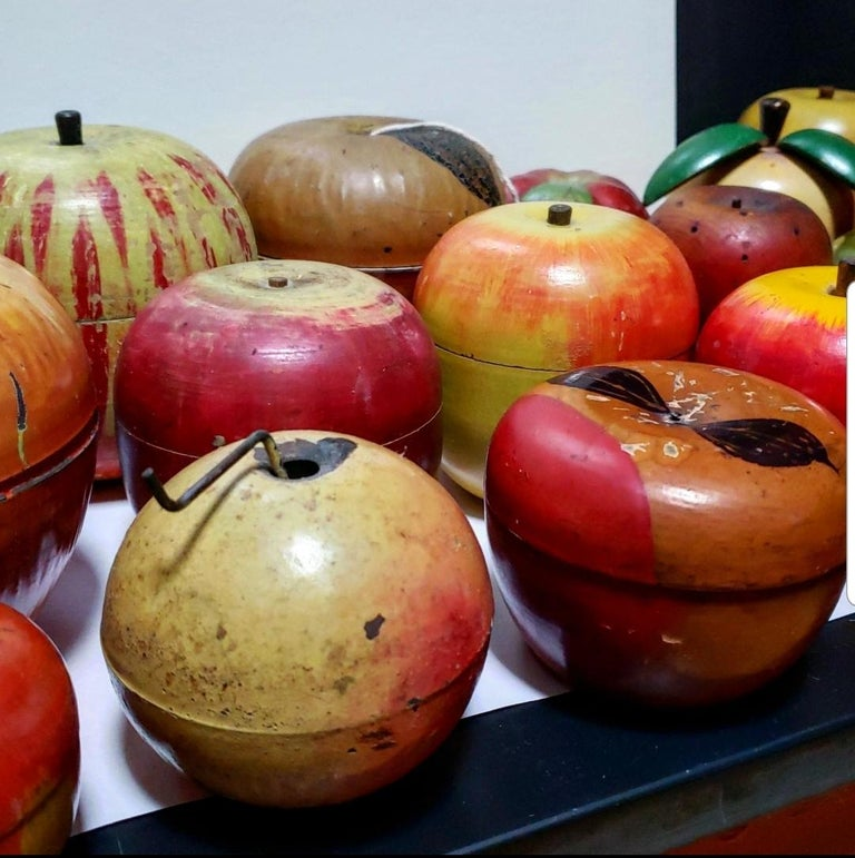 62 Vintage Folk Art Hand Painted Apple Collection and Display, Circa 1890-1950 For Sale 4