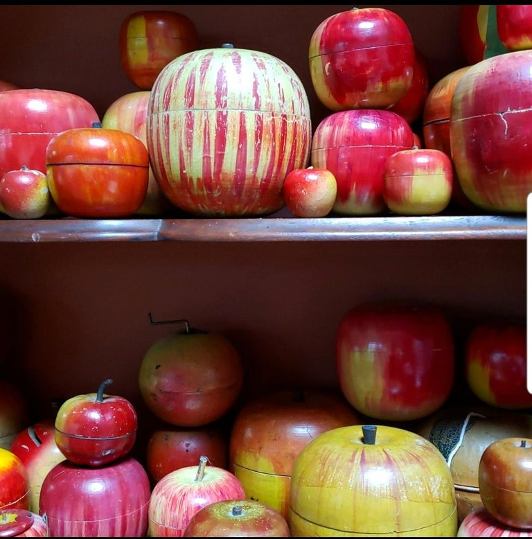 62 Vintage Folk Art Hand Painted Apple Collection and Display, Circa 1890-1950 For Sale 5