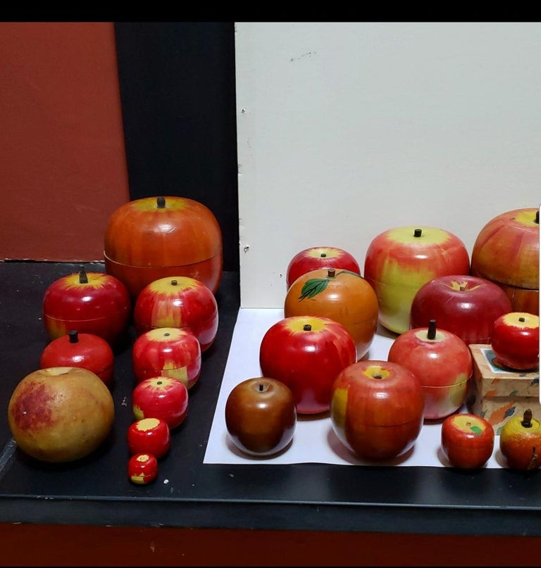 62 Vintage Folk Art Hand Painted Apple Collection and Display, Circa 1890-1950 For Sale 8