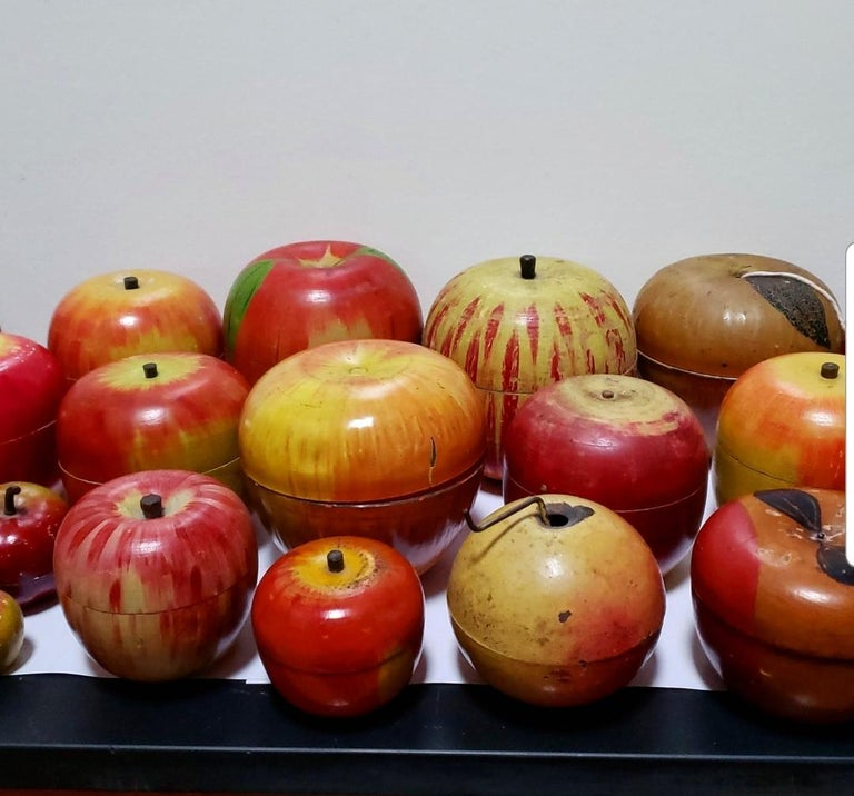 62 Vintage Folk Art Hand Painted Apple Collection and Display, Circa 1890-1950 For Sale 9