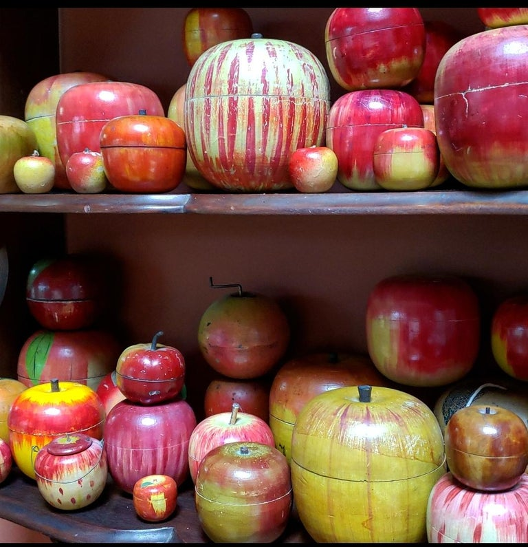 62 Vintage Folk Art Hand Painted Apple Collection and Display, Circa 1890-1950 For Sale 10