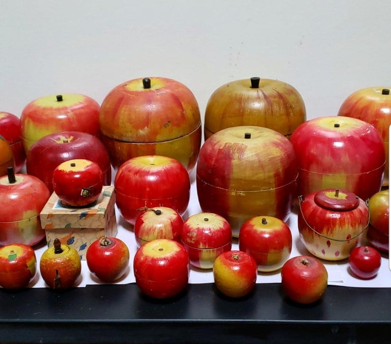 62 Vintage Folk Art Hand Painted Apple Collection and Display, Circa 1890-1950 For Sale 12