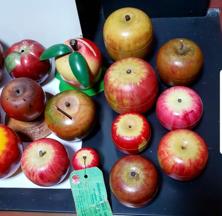 62 Vintage Folk Art Hand Painted Apple Collection and Display, Circa 1890-1950 For Sale 13