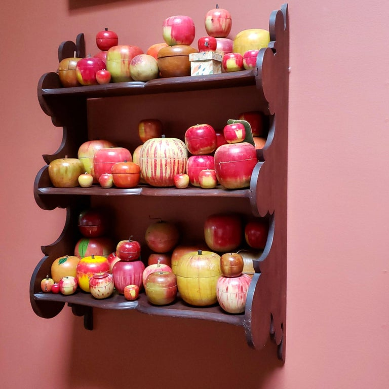 Unknown 62 Vintage Folk Art Hand Painted Apple Collection and Display, Circa 1890-1950 For Sale