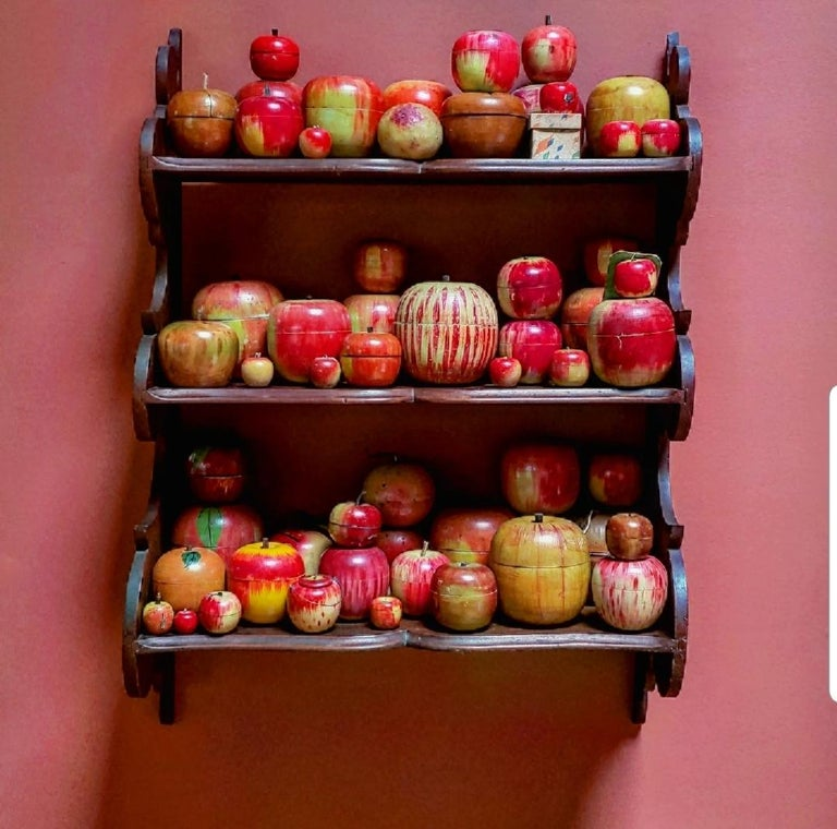 20th Century 62 Vintage Folk Art Hand Painted Apple Collection and Display, Circa 1890-1950 For Sale