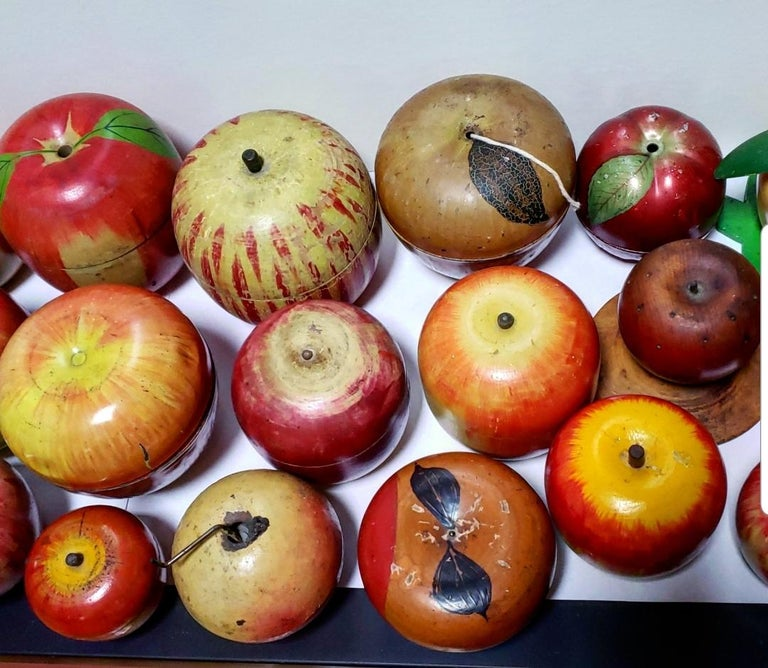 Tin 62 Vintage Folk Art Hand Painted Apple Collection and Display, Circa 1890-1950 For Sale