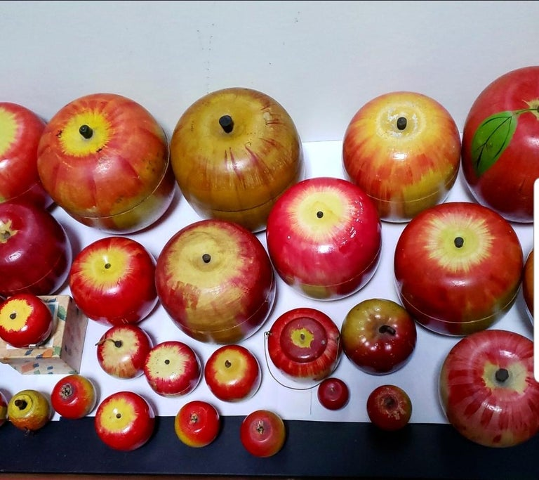62 Vintage Folk Art Hand Painted Apple Collection and Display, Circa 1890-1950 For Sale 1